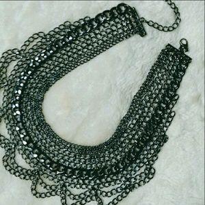 SALE! Gorgeous Gun metal bib necklace