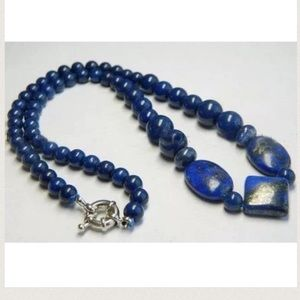 "Blue Lapis with Gold Specks 18"" Beaded Necklace"