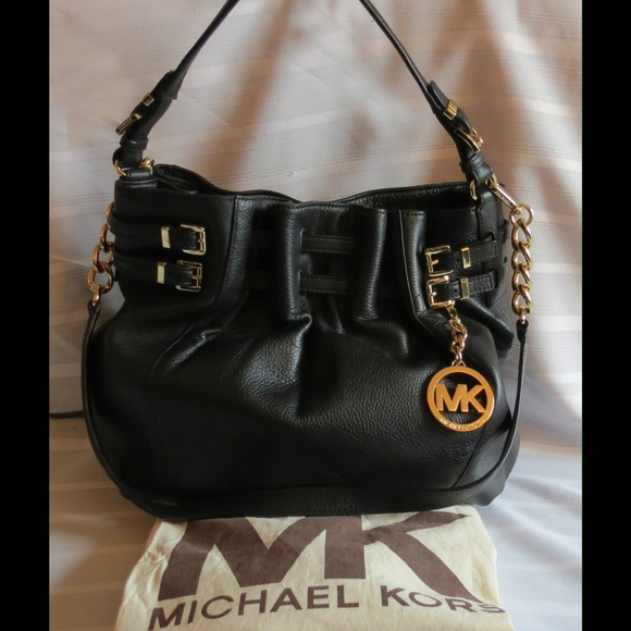 d32c8cb10f Michael Kors Bags | Edie Belted Black Leather Bag Fab | Poshmark