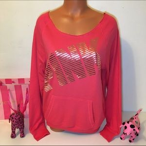 PINK Victoria's Secret Tops - NEW PINK VS SLOUCHY LOGO SWEATSHIRT