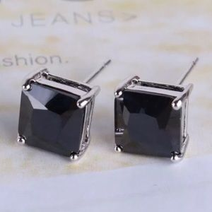 Boutique Jewelry - 6mm Black Swarovski Crystal & White Gold Studs