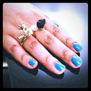 Adia Kibur Jewelry - ⚡FLASH SALE⚡Adia Kibur 💀& crystals 2 finger ring
