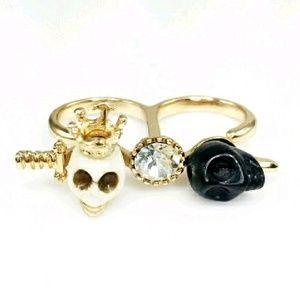 Adia Kibur Jewelry - ✨SALE!💀Adia Kibur Skull & Crystal 2 Finger Ring!
