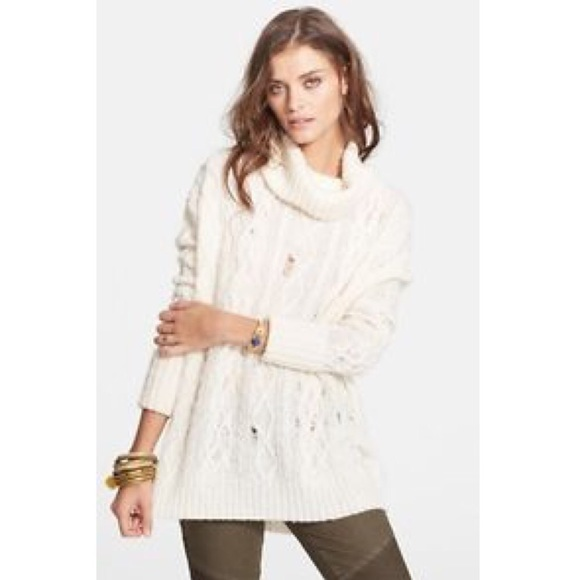 91% off Free People Sweaters - Free People Ivory Cowl Neck ...
