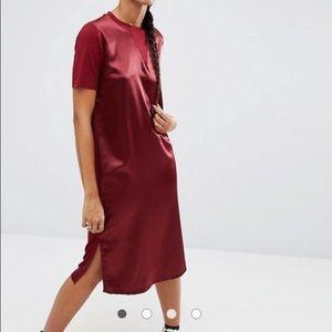 ASOS Dresses & Skirts - ASOS Oxblood Satin Front T-Shirt Dress