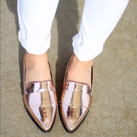 713acd02b77 Forever 21 Shoes - Forever 21 Rose Gold metallic loafer flats