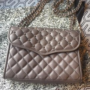 Grey Quilted Silver Stud REBECCA MINKOFF Leather