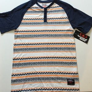 No Fear Other - NEW Navy & Orange Stripe Henley Short Sleeve Tee
