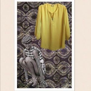 Eyeshadow Bright Yellow Tunic Top W/Zipper