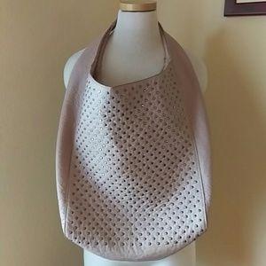 Zara Pink Faux Leather Shoulder Bucket Bag w Studs