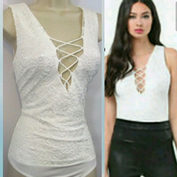 50b1885c77cebb bebe Tops | Nwt Lace Up Sleeveless Bodysuit Msrp10000 | Poshmark
