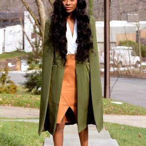 Urban Sweetheart Jackets & Blazers - ❗️Last One | Long Blazer Trench Cape (olive green)