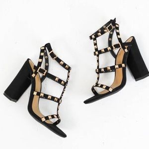 GlamVault Shoes - LAST ONE ❣️Black Sandel Heels with Gold Studs