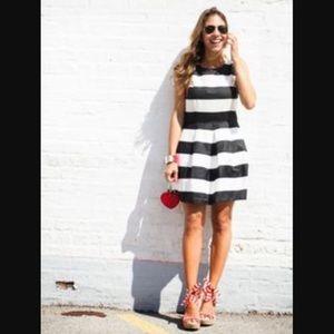 HP GAP navy/white striped pleated dress w/ pockets