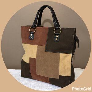Valerie Stevens Handbags - Valerie Stevens Suede Patchwork Handbag Tote