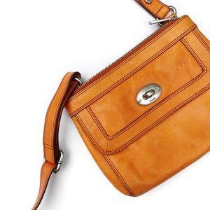 Fossil Handbags - Fossil orange leather cross body bag