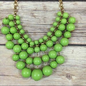 Occasionally Made Lime Statement Necklace Goldtone