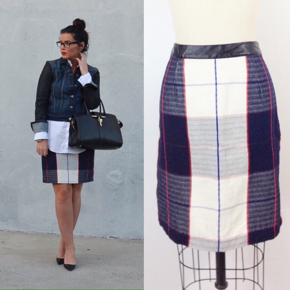 e3065a8d21 Blue Plaid Pencil Skirt with Leather Trim. M_58812cb5bf6df5e0cd017878