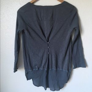 Anthropologie Tops - Anthro gray large stitch quirky blouse