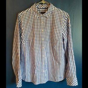 Talbots Tops - Fun Blue and White Checked Button down Shirt EUC!!