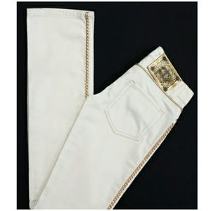Just Cavalli Denim - Just Cavalli cream w gold trim jeans 27 & 30 new