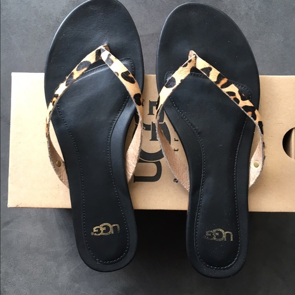 4450ddd47f8 UGG allaria calf hair leopard flip flop sandals