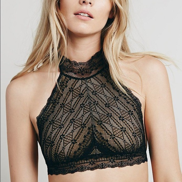 62d3a43121 Free People Other - Free People Kiki High Neck Lace Halter Bra