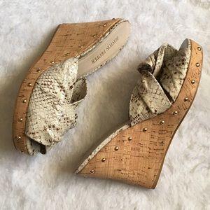 Boston Proper Shoes - Boston Proper python studded wedges