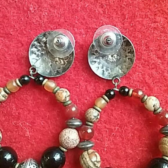 Jewelry - Vintage Southwest Hoop Earrings W/Stone Beads