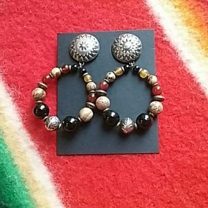 Vintage Southwest Hoop Earrings W/Stone Beads