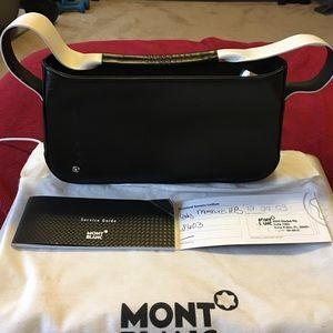 Montblanc Handbags - NWOT Mont Blanc black & white leather bag