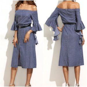 Stripe ruffle sleeve off shoulder dress.Price firm