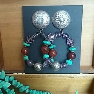 Jewelry - Earrings, Southwest Style, Hoops With Stones