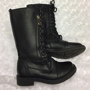 Link Other - Girls zippered laced black combat boots