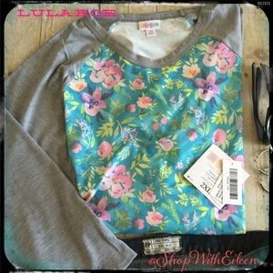  LulaRoe GRAY TURQUOISE CEVRON FLORAL RANDY T