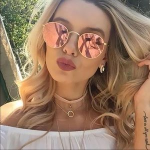 WILA Accessories - LAST 1💎Rosegold pink mirrored round sunglasses