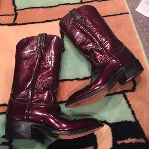 Tony Lama Shoes - VTG Tony Lama Burgundy Patent Cowboy Boots 6