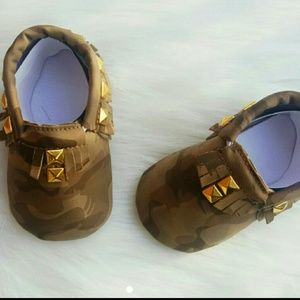 Other - Camouflage Moccasins with Gold Studs