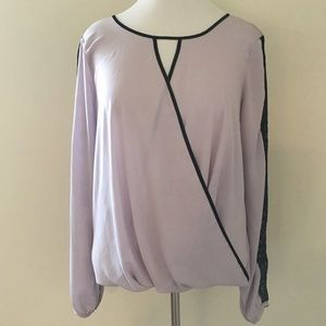 Charlotte Russe Tops - Charlotte Russe Lilac Blouse with Black Trim