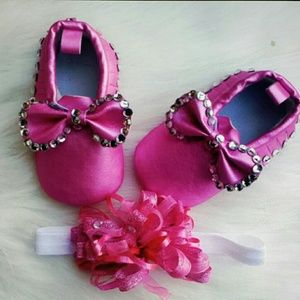 Other - Blinged-out baby moccasins and headband
