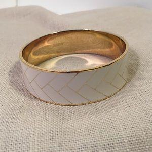 J.Crew enamel cream gold bracelet woven pattern