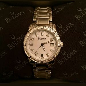 NWT Bulova DIAMOND stainless steel watch