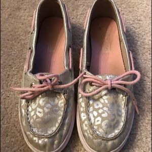 Sperry Other - Sperry Girls Pink and Gray Cheetah Print Shoes