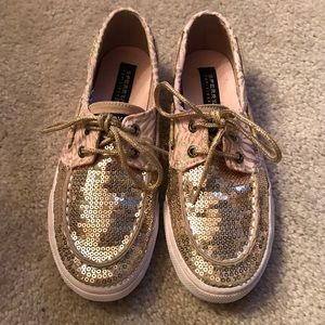 Sperry Other - Sperry Girls Pink/Gold Zebra Print Shoes Size 2.5
