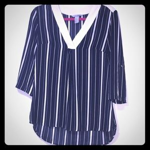 Silky Navy / White Striped Blouse