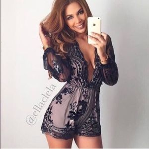 Elegant Black Sequin Sheer Romper Party Outfit