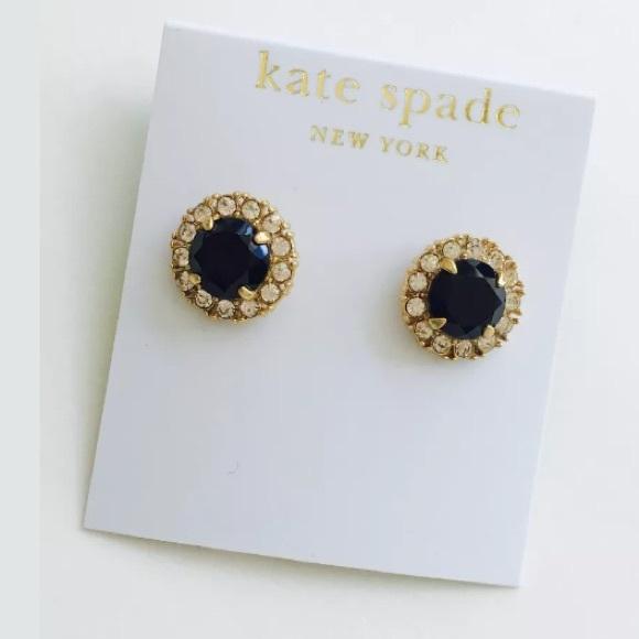 672595c9b12a2 NWT KateSpade Secret Garden Black Stone Gold Studs NWT