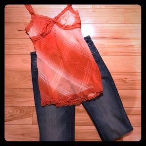 Rave Tops - Orange Shimmery Sheer Tank