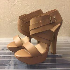 JustFab nude strappy platform heels size 8M