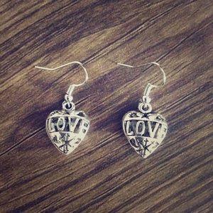 10/$20 SALE -  Love Heart Shaped Dangle Earrings